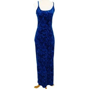 Vintage Floral Blue Crushed Velvet Maxi Dress Slit